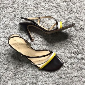 Kate spade brown asymmetrical strappy Sandals